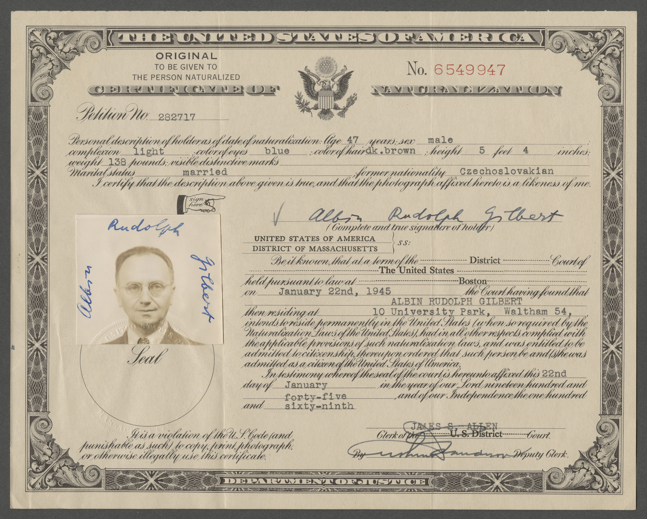 Certificate of Naturalization issued to Albin Rudoph Gilbert (previously Goldschmied).