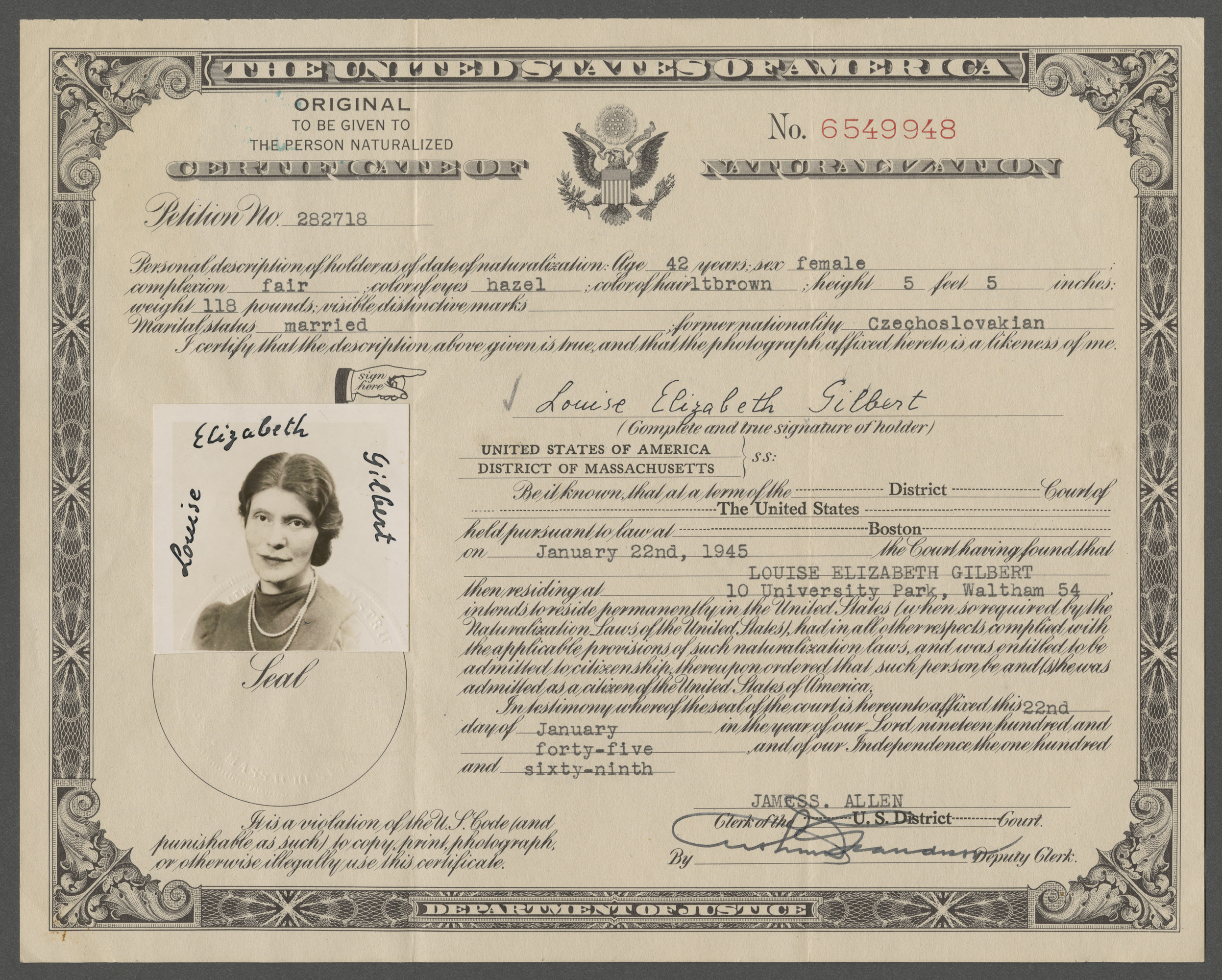 Certificate of Naturalization issued to Louise Elizabeth Gilbert (previously Goldschmied).