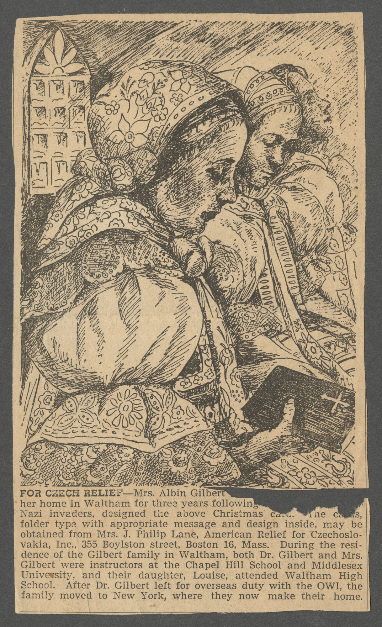 A Christmas card designed by Louise Gilbert (formerly Goldschmied), sold to raise funds for the New York based organization, American Relief for Czechoslovakia.