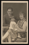Studio portrait of Hinda Leah Pressman with her two children Hermann and Sonia.
