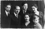 Prewar portrait of the Zamenfeld family.  Pictured are Leon and Sally Zamenfeld (the sister of Miriam Starkopf) and their children Henry and his wife Rose, Waldek and Stasio.
