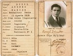 An identification card issued to Zdenko Bergl, a Jewish DP from Croatia, when he began his studies at Lake Como in 1947.