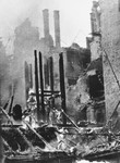 View of the smoldering ruins of a building in Warsaw following a German aerial attack.