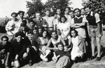 Group portrait of members of the Betar Zionist youth group in a summer camp near Sofia.