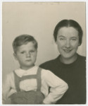 Close-up portrait of Vilma Grunwald and her son Misa.