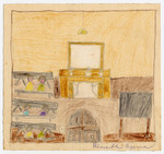 Color child's drawing of a schoolroom in Chateau de la Hille.