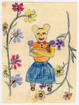 Color child's drawing of Minnie Mouse surrounded by flowers drawn by a child in Chateau de la Hille.
