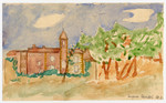 Color child's watercolor of an exterior view of Chateau de la Hille signed by Jacques Sandel.
