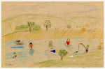 A child's drawing of children going swimming and fishing created by a child in Chateau de la Hille.