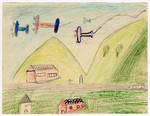 Color child's drawing of several warplanes flying over the countryside near Chateau de la Hille.