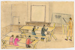 Color child's drawing of a schoolroom drawn by a child in Chateau de la Hille.