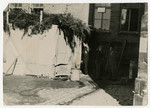 View of a sukkah [tabernacle] in the Bamberg displaced persons camp.