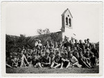 Group portrait of children in the Seyre children's home in the summer of 1940, the year France was conquered.