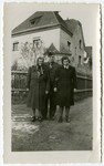 Miriam Elkes poses with her brother Hans Malbin and her daughter Sarah in the Saint Ottilien displaced persons camp.