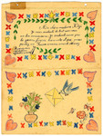 A child's birhtday letter with drawings of flowers, hearts, and a dove delivering a letter from Chateau de la Hille.