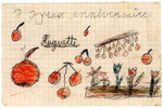 Color child's drawing of fruit and flowers made in Chateau de la Hille.