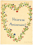 A child's card wishing a Happy Anniversary and drawn with flowers from Chateau de la Hille.
