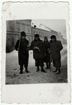 Romanian Jews are forced to clear snow during the winter of 1942 in Brasov, Romania.