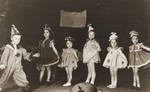 Jewish DP children take part in a Purim performance in the Cremona displaced persons camp.