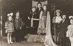 Jewish DP children perform a Purim play in the Cremona displaced persons camp.