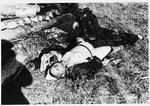 Corpses lie on the grounds of the Klooga concentration camp.
