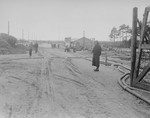 The main camp street in Bergen-Belsen.