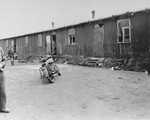 Barracks in Bergen-Belsen concentration camp.