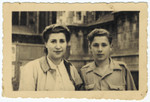 Close-up portrait of Tzila and Simon Frumkin after the war in Milan, Italy.