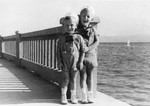 Two young Jewish brothers pose on a pier overlooking the Adriatic Sea in Crikvenica, Croatia, Augut 12, 1939.