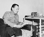 Defendant Herman Goering lies in his bunk in jail during the International Military Tribunal trial of war criminals at Nuremberg.