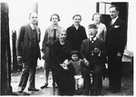 Group portrait of membes of the Deutsch family in front of their home in Ludbreg, Croatia.