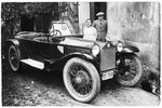 Giza Deutsch admires her friend Ljudevit (Ludva) Vrancic's new car.