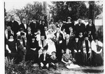 Group portrait of family and friends at the wedding of a young Jewish couple, Blanka Deutsch and Rudi Apler, in Ludbreg, Croatia.