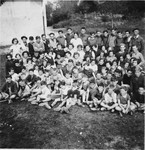 Group portrait of Jewish refugee children at the Secours Suisse children's home in Seyre.