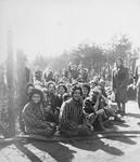Female survivors of Bergen-Belsen cheerfully greeting their British liberators.