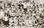 Group portrait of Jewish children at an OSE summer camp.