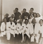 Group portrait of the medical staff that served the members of the Kladovo transport in the Sabac refugee camp.