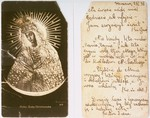 Two sides of a devotional card bearing the image of the Black Madonna of Czestochowa given to Lodzia Hamersztajn by Irena Adamowicz, a Polish woman closely associated with the Jewish underground.