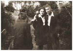 Moniek Rosen poses with Regina Zilbersztajn from Olkusz after her recuperation from the death march from Helmbrechts to Volary.