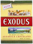 Top of an Elite Company box of chocolates produced in Israel, that was issued on the fifth anniversary of the voyage of the Exodus 1947.