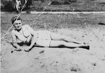 Rachel Kolin relaxes on a beach in Olkusz.  The donor, Hela, had this photo with her in the Markstadt labor camp and gave it to her future husband, Szulim, before the two became separated.