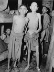 Emaciated Jewish survivors pose in a barracks in the newly liberated Ampfing concentration camp, a sub-camp of Dachau.