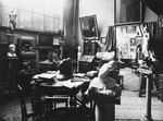 View of the studio of sculptor Naum Aronson.