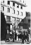 Jewish youth gather outside the entrace to the Selvino Youth Aliyah children's home.