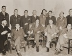 Group portrait of participants at a meeting between Jewish DP leaders and visiting American Jewish leaders in the American Zone of Germany.