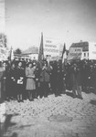 A mass rally in Dej calling for the return of Jews who survived the concentration camps, but remained in areas under Allied occupation.