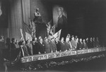 Delegates on the dais sing Hatikva (the Jewish National Anthem) at the closing session of the Third Congress of the Central Committee of the Liberated Jews in the US Zone in Bad Reichenhall.