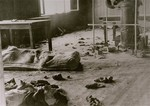 Interior view of  Block 20 of the Mauthausen concentration camp after an escape attempt.