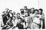 Group portrait of teenagers in the Selvino children's home.