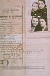 Identification papers for Feiga (Fani) Mendelovicz and her three daughters  The certificate was issued by the Romanian consulate in Bruxelles in lieu of a passport.